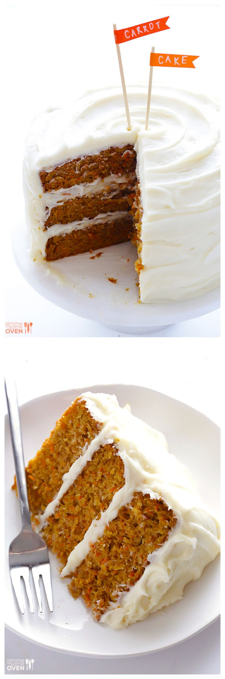 The BEST Carrot Cake: it's moist, delicious, and topped with a heavenly cream cheese frosting | gimmesomeoven.com