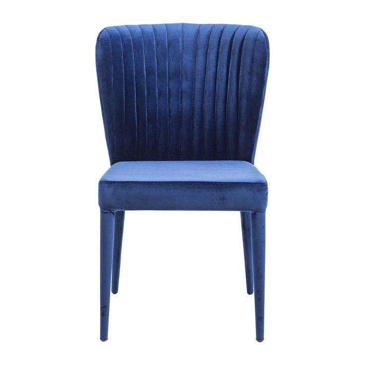 Chaise bleu en tissu velours, Cosmos - Déco & Mobilier - Kare Design