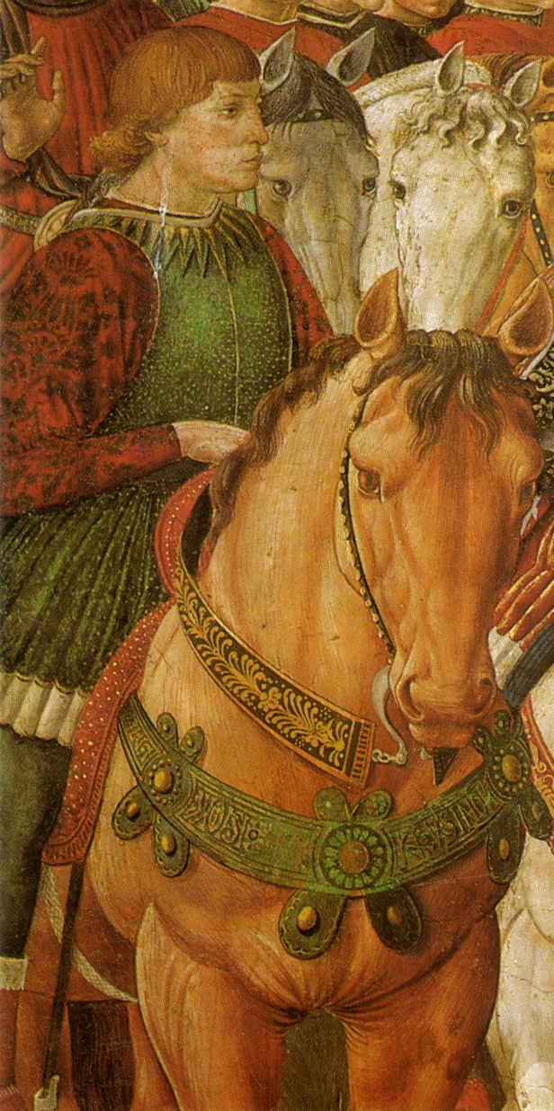 BENOZZO GOZZOLI (1421 - 1497) - Procession of the Magus Balthazar (detail). 1459-1461. Fresco. East wall of the chapel, Palazzo Medici-Riccardi, Florence.