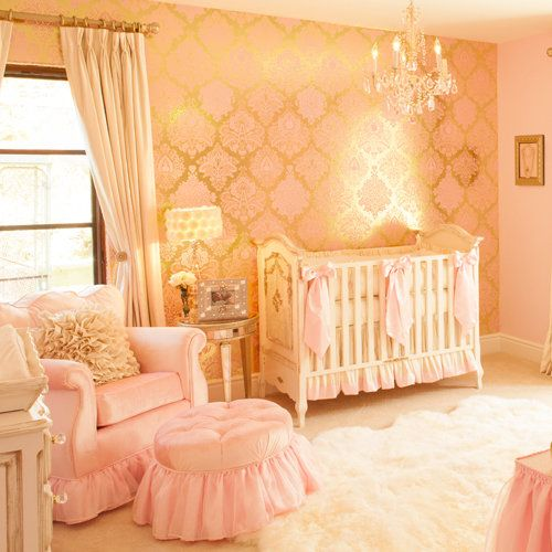 A Pink and Gold Princess Pad For a Glam Baby Girl: Little Crown Interiors, the California-based design firm created by Naomi Alon and Gerri Panebianco, has created some seriously enchanting nurseries for celebs including Laila Ali, Melanie Brown, and J.R.