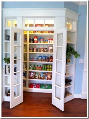 Pantry with windows and french doors to make it feel more open. Maybe use frosted glass for the windows...