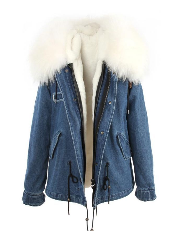 Denim Parka Jacket White Fur