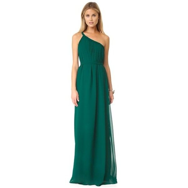Joanna August Eleanor Long Dress ($290) ❤ liked on Polyvore featuring dresses, emerald eyes, blue dress, chiffon dresses, one strap dresses, twist dress and blue one strap dress