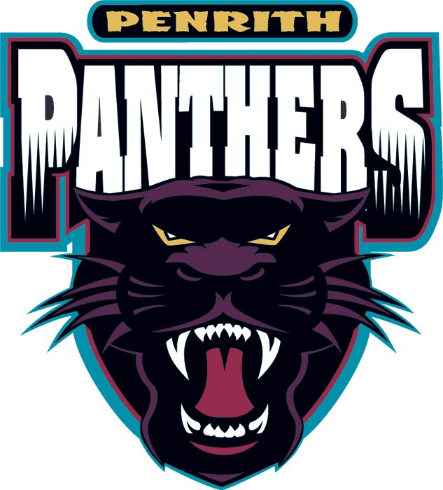 Penrith Panthers Primary Logo (1998) - A black and purple panther head underneath team name