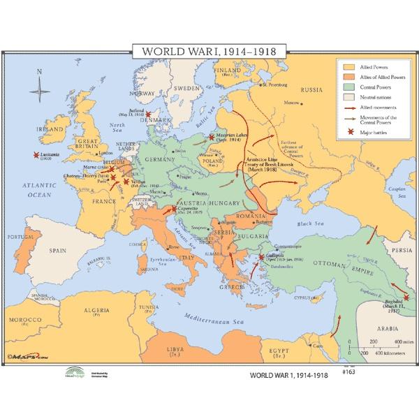 World war 1 map cities