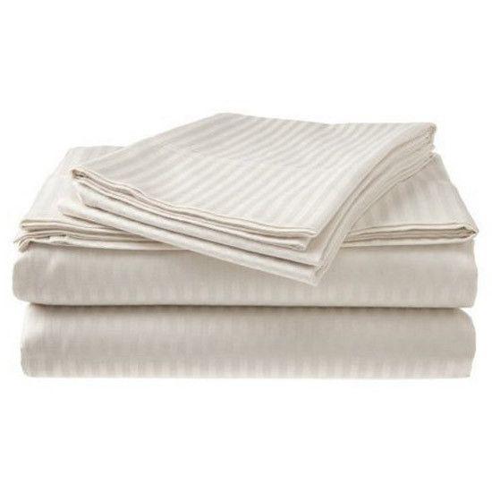 King size 300-TC 100% Cotton Sheet Set in Ivory Sateen Dobby Stripe