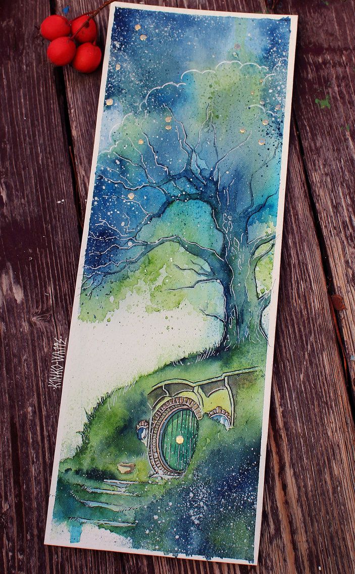 Watercolor bookmark patterns -  I Wish I Was At Home In My Nice Hole By The Fire With The Kettle Just Beginning To Sing Tolkien Watercolor With Gold Leaf Origina