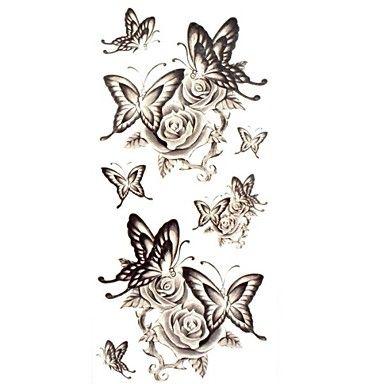 1ks vodotěsný dočasné tetování krk / zpět / rameno / finger tetování glitter motýl růže těla tetování (18,5 cm * 8,5 cm) 2016 - $1.99