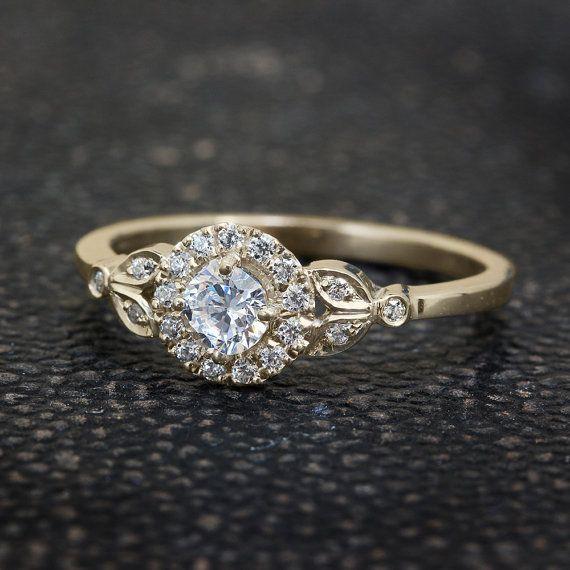Leaves Engagement Ring Handmade 18K Yellow by SillyShinyWeddings