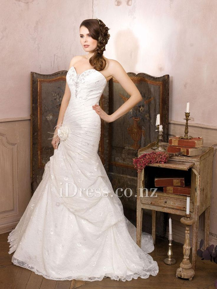 lace trumpet sweetheart strapless flower side draped wedding dress from idress.co.nz