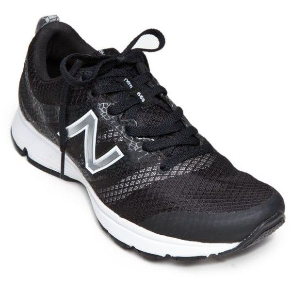 New Balance Black 668 Athletic Shoes - Women's (€45) ❤ liked on Polyvore featuring shoes, athletic shoes, black, new balance shoes, caged shoes, black cage shoes, black shoes and new balance athletic shoes