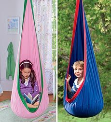 Kids can curl up inside this cozy HugglePod™ Indoor Canvas Hanging Chair by HearthSong to have a quiet place all their own to read, take a nap, play with toys, or just enjoy a little personal time for imaginative thinking.