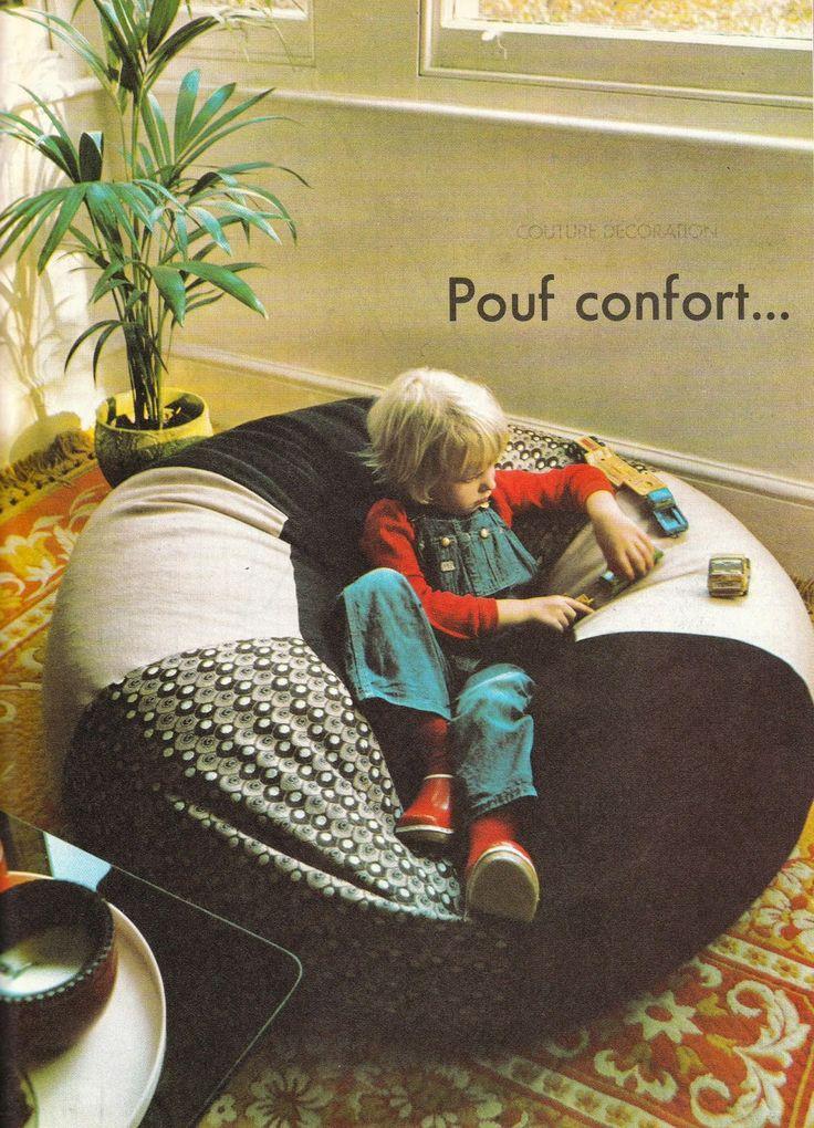 DIY vintage, couture, tricot, patron 70's,art and craft: Des accessoires pour la déco : pouf et coussins