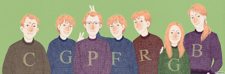 ----- Charlie, George, Percy, Fred, Ron, Ginny, Bill Weasley (c) Harry Potter