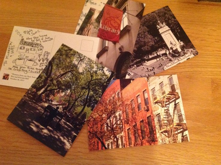 Instead of a guest book: For a New York City themed wedding, I chose 160 of the bride and groom's personal photos of NYC and used the Moo.com printing service to turn them into postcards.  There is a small note and photo of the couple on the back. Guests chose an image special to themselves.  It made for a fun table of images in a postcard rack and we collected completed cards in apple baskets.  I will send several postcards a week to the bride and groom for the first year of their marriage.