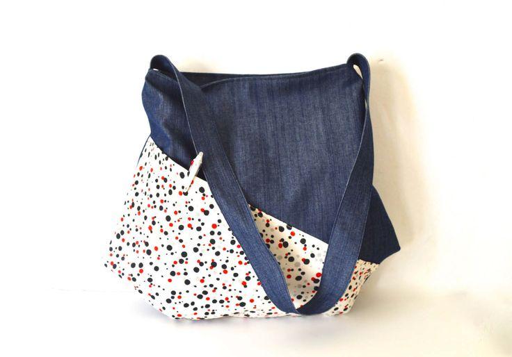 large bag, japanese bag, shoulder bag, large crossbody bag, denim large tote, large hobo bag by UMEHARAKABAN on Etsy