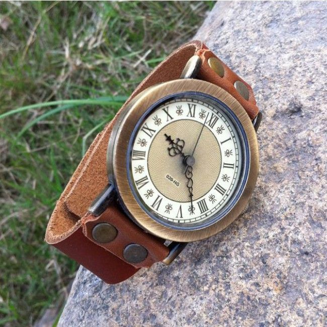 Cinnamon Retro Handmade Cowhide Leaather Roman Numerals Man Watch just $22.99 in ByGoods.com