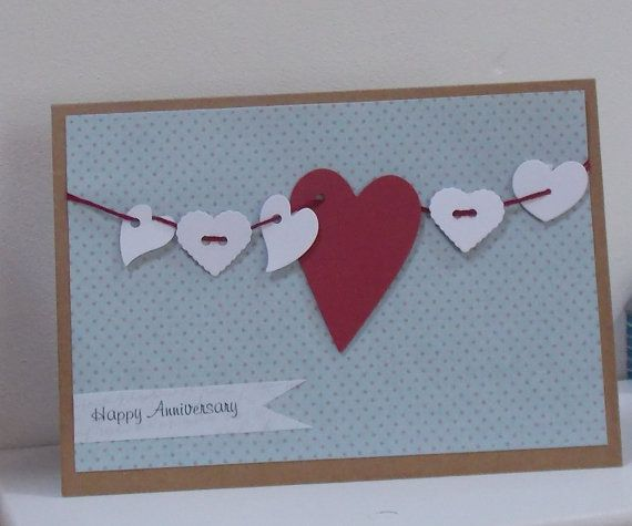 Hanging Heart Wedding Anniversary Card by thesparklyfairy on Etsy, £2.50