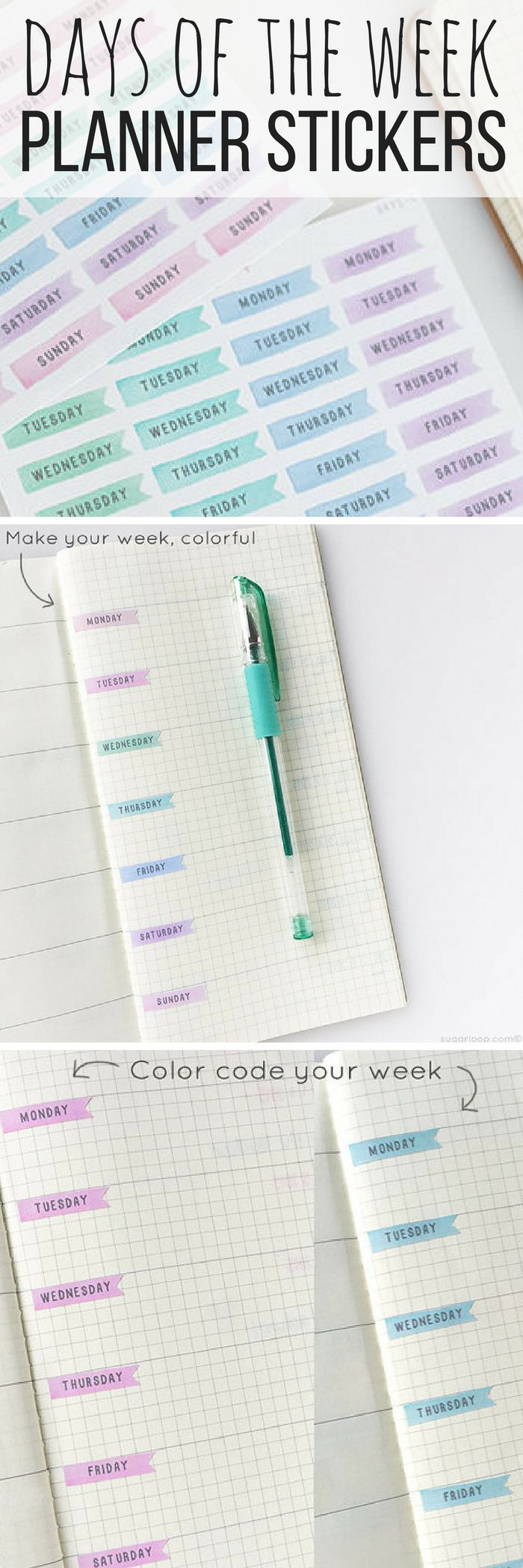 Cute days of the week planner stickers! I love the pastel colors of these. These stickers would work well in a bullet journal, or just an ordinary planner to add some color! Or like in the picture, you can turn any notebook into a journal with them! So pretty :) #ad #stationery #planner #stickers #journal #bujo