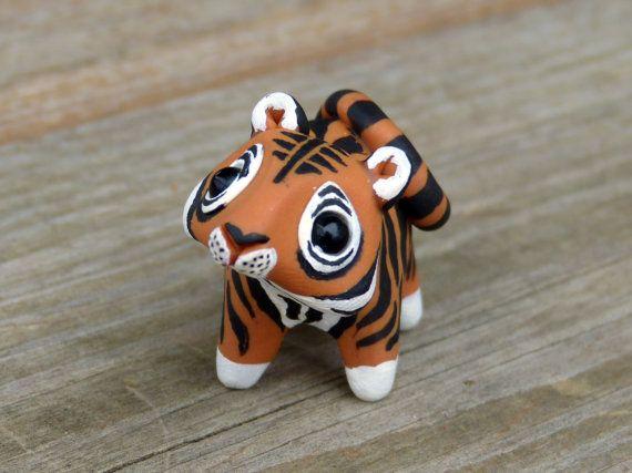 Tiny tiger  Handmade miniature polymer clay by AnimalitoClay, $28.00