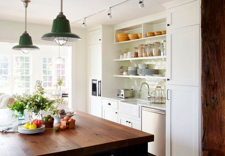 Farmhouse pendant lighting kitchen traditional with wood countertop orange bowls integrated refrigerator