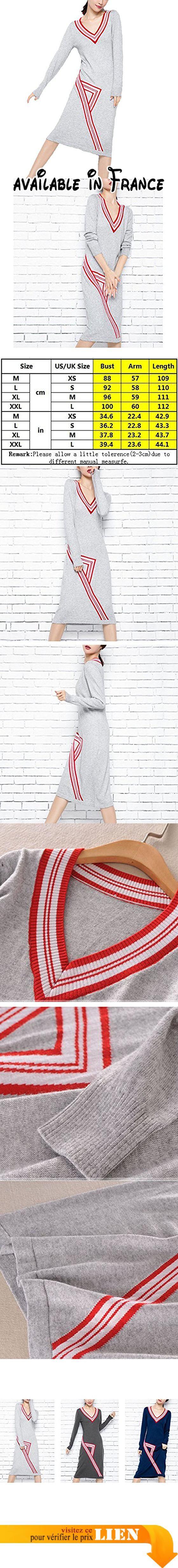 Women's Sexy Slim Stretch Warm V Neck Manches Longues Manches En Mousseline De Soie Robe Multicolore,LightGray-XXL. Matériel de haute qualité, doux, confortable, lâche. Il est assez chaud pour résister au froid. Robe élégante et tricotée à la mode, montre vos Curseurs de charme, vous permet de devenir le foyer de la foule. Facile à combiner avec différents styles de vêtements.. Occasion: Convient pour le travail, les courses, le club, les vacances ou l'usage quotidien.