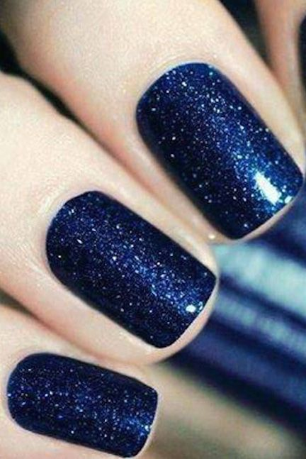 Red and green aren't the only holiday-appropriate shades. A rich navy blue with silver shimmer is a vibrant way to wear glitter for Christmas. See more on We Heart It »