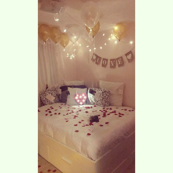 Romantic anniversary surprise at home