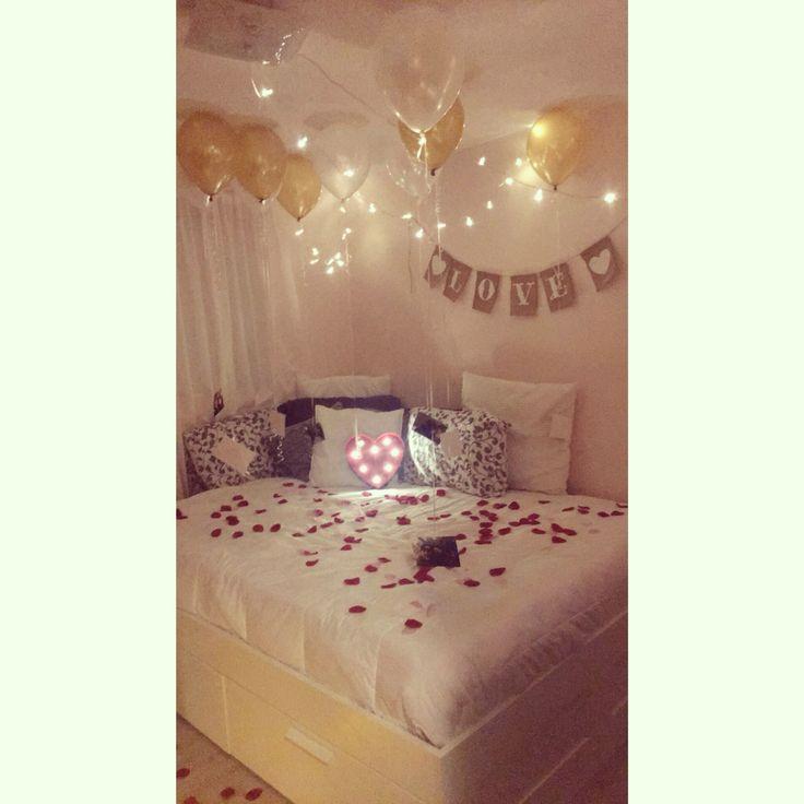 Romantic anniversary surprise at home