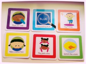 Roll & Play Action Cards reading: Pick your nose, find something blue, hop 4 times, make a scared face, play peek-a-boo, quack like a duck