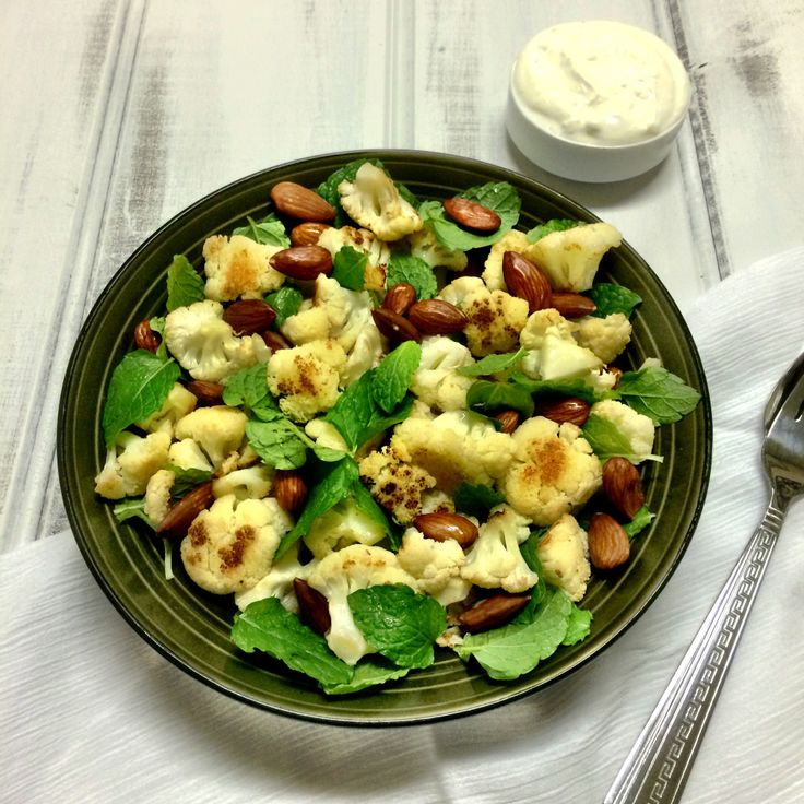 Roast Cauliflower, Almond and Mint Salad with Whipped Goats Cheese - Shine Dining