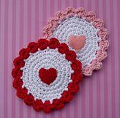 Crochet: Candy Hearts Coaster Pattern: Crochet Coasters, Free Crochet, Crochet Heart, Candy Heart, Crochet Patterns, Free Patterns, Heart Coasters, Wool, Crochet Valentines