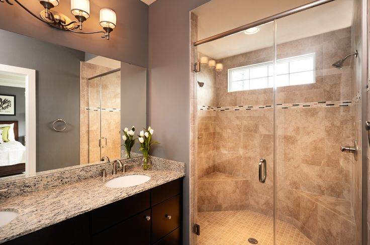 39 best images about bathroom reno on pinterest double for Model home bathroom photos