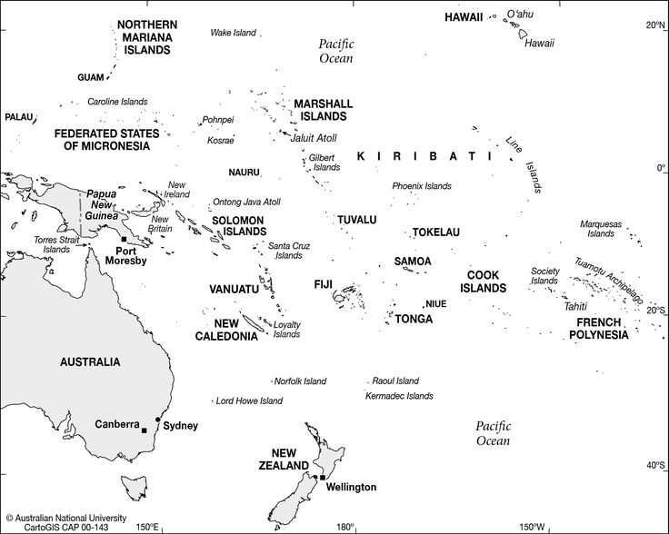 Australia And Pacific Islands Blank Map