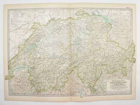 Switzerland Map 1901 Vintage Map, Swiss Alps Mountains, 1st Anniversary Gift, European Decor Wall Map, Vacation Gift, Office Gift for Boss available from OldMapsandPrints on Etsy