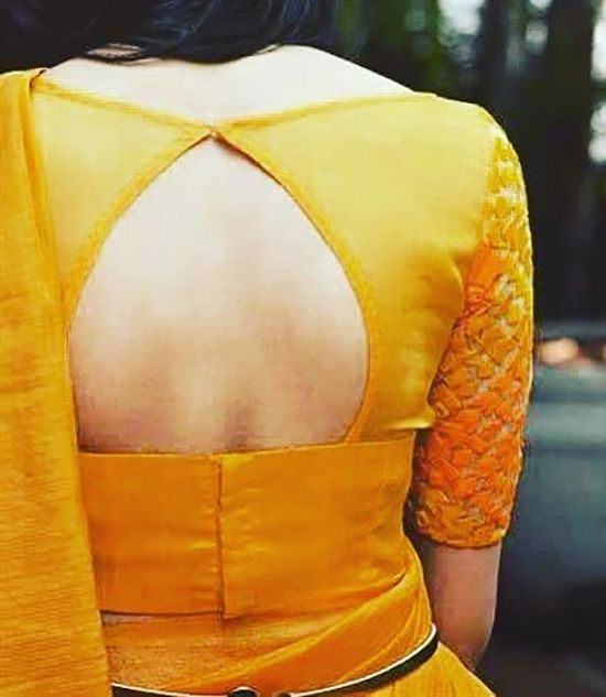 Silk Saree Blouse Designs - Pot Neck And Back Open Blouse Design For Yellow Silk Saree