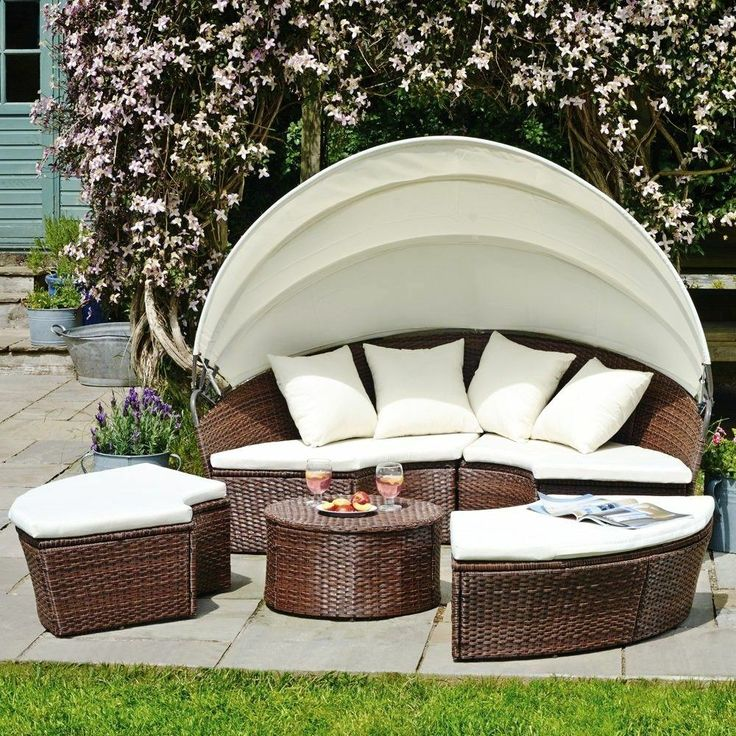Patio Rattan Sofa Sun Lounger Daybed Seat Bed Furniture
