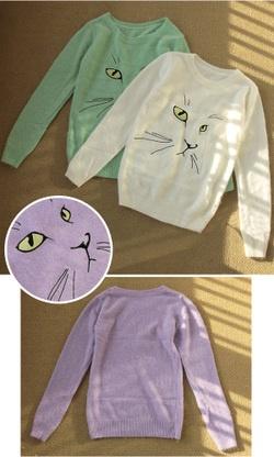 2013春新作☆かわいい猫FACE刺繍アンゴラニット,今からの季節で大活躍♪