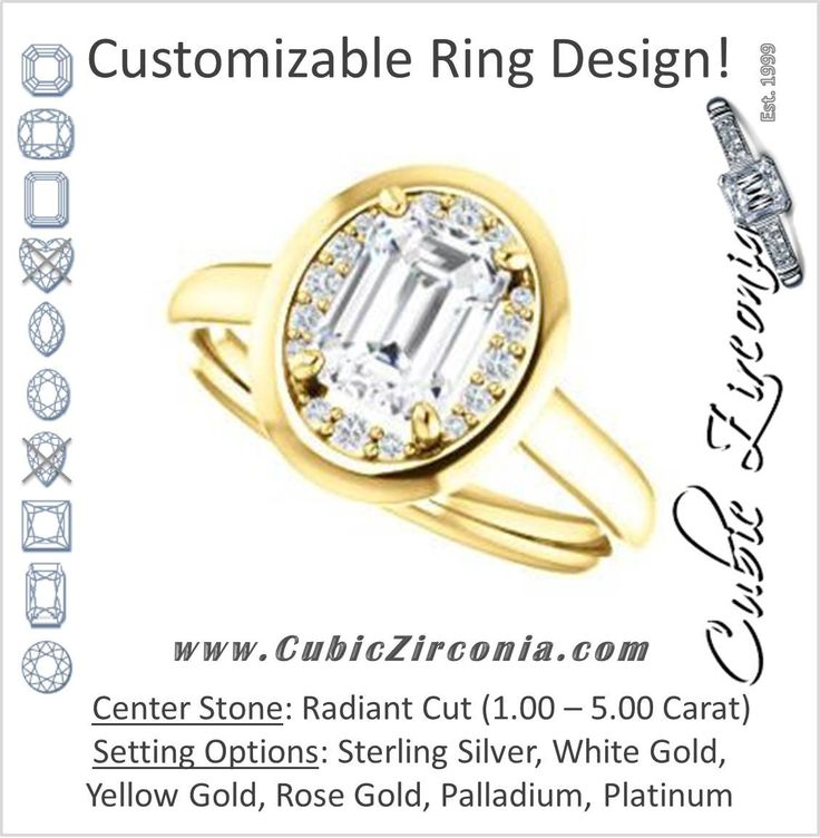 Cubic Zirconia Engagement Ring- The Kajal (Radiant Cut Tapered Faux Bezel Halo)