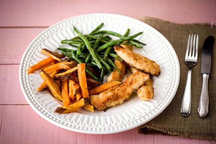 Coconut-Crusted Chicken Fingers with Garlic Green Beans and Spiced Sweet Potato Fries  Recipe | HelloFresh