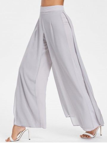 7a96430d03 Shop for Light Gray 2xl Chiffon Overlay Wide Leg Trousers online at $26.80  and discover fashion at RoseGal.com Mobile