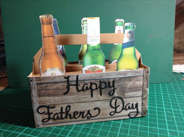 Father's Day 6 pack European beers, printed and cut out beer bottles, made crate from designer wood paper, happy father's day die cuts