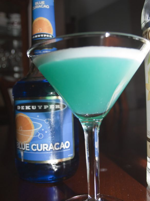Blue Ballz: 1 part vanilla vodka 1 part blue Curacao 1 part pineapple juice