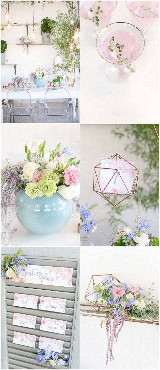 Simply stunning Rose Quartz Pink and Serenity Blue Geometric Wedding Ideas with hanging copper geometric planters, water color painted details and pastel florals. Pics: Veronique Photography