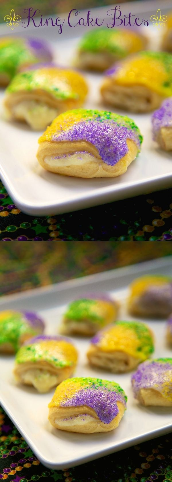 Easy King Cake Bites:  Present rolls filled with cinnamon and cream cheese, topped with icing and colored sugar...DELICIOUS! They really do taste like little King Cake bites. These would be great for a class party, Fat Tuesday breakfast or just anytime for a treat!