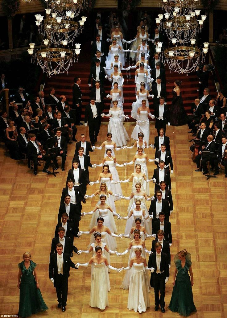 186 debutantes and their partners dance the opening waltz at the Vienna Opera Ball...