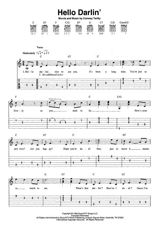 Hello Darlinu0026#39; Sheet Music by Conway Twitty : Hello darlin, Sheet music and Guitars