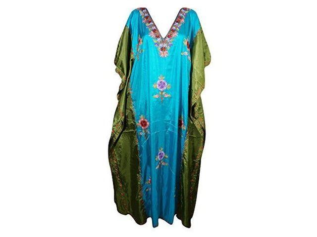 Womens Caftan Maxi Dresses Kashmiri Embroidered Shaded Desire Aadya Silk Kaftans