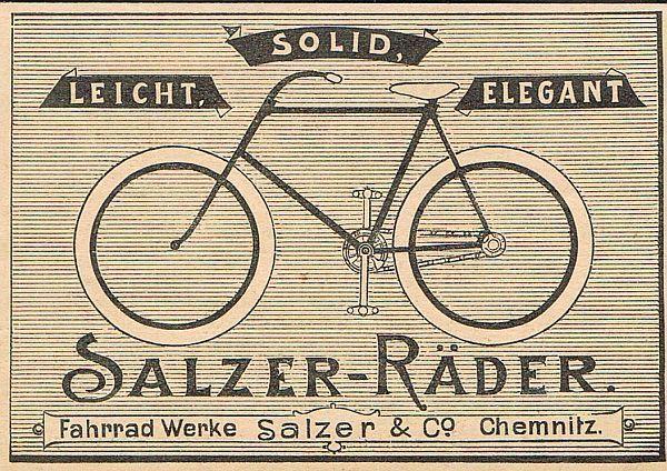 Chemnitz Werbung 1897 Fahrrad Werke Salzer Rader Rad Fahrrader