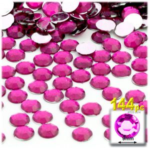 144-pc Acrylic Flatback Rhinestones 9mm Hot Pink